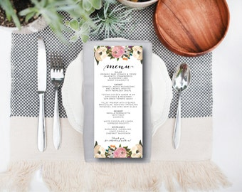 INSTANT DOWNLOAD wedding menu / instant download wedding menu / editable wedding menu / painted floral wedding menu