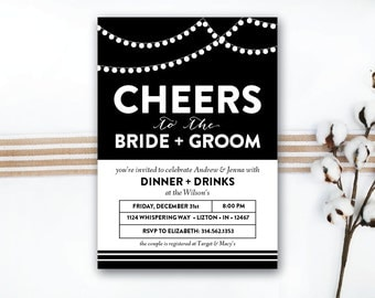 INSTANT DOWNLOAD wedding shower invitation / couple's shower / engagement party / his and her shower / black and white invite