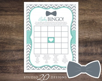 Instant Download Bow Tie Baby Shower Bingo Game, Printable Little Man Baby Bingo, Aqua Grey Chevron Baby Shower Bingo Game for Boy 79C