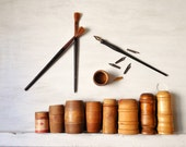 Turned Wood Barrel Boxes ~ Vintage Carpet Tack Wood Container ~ Office, Art Studio Storage /0566