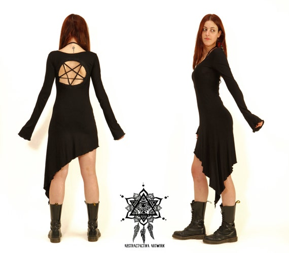 pentagram dress goth dress gothic dress by abstractikacrafts
