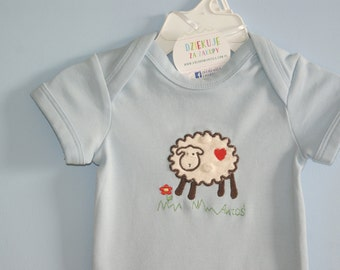 Sheep Bodysiut or Shirt, Appliqued Bodysuit, Personalized Bodysuit, Child's Name