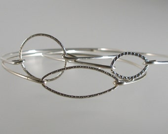 Silver Set Three Minimalist Bracelets, Modern Boho Bangle Bracelet, Silver Bangle Bracelet, Bohemian Bracelet, Geometric Bracelet (S284S)