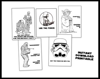 Star Wars Printable Coloring Book - For Birthday Present or Party Favors- Yoda R2D2 C3PO Storm Troopers Darth Vader Chewbacca Droids