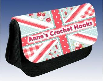 Personalised Crochet Hooks Needles Case Bag Pouch Gift Shabby Chic Union Jack Sty;e