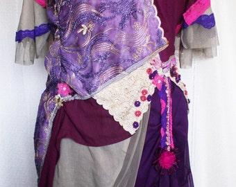 Art to wear Handmade Dress Outsize Extra Large Romantic custom made Boho Hippie Shabby Chic Burlesque Steampunk Bohemian Dress  Wearable Art