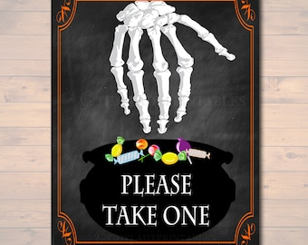 Please Take One Halloween Candy Sign, Chalkboard Halloween Decor, Candy Bar Sign, Trick or Treat Sign, Halloween Wedding,  INSTANT DOWNLOAD