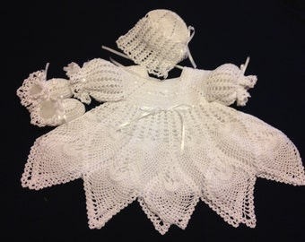 Crocheted Baby Girl Christening Dress Set w/Slip