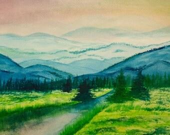 Watercolour Mountain Scene