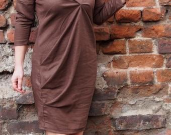 Short Sleeve Linen Dress  Midi Dress Extravagant  Dress & Nara LR012