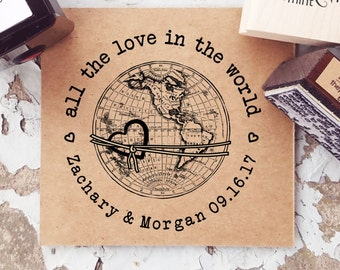 Travel Wedding Stamp, Globe Rubber Stamp, Custom Wedding Stamp, Destination Wedding, World Map Stamp, CS-10277