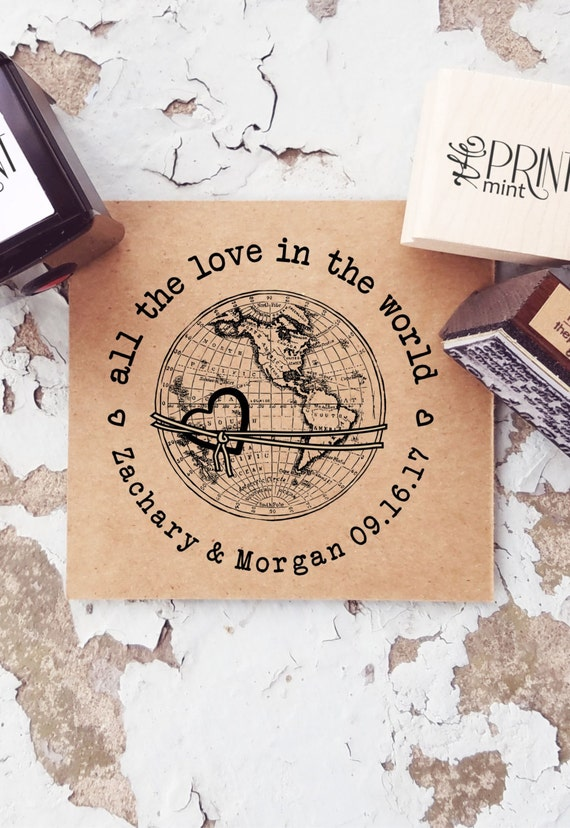 travel wedding stamp globe rubber stamp custom wedding stamp