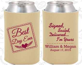 Best Day Ever, Signed, Sealed, Delivered, I am Yours, Custom Wedding, Best Day Ever Wedding, Romantic Wedding, Can Covers (591)