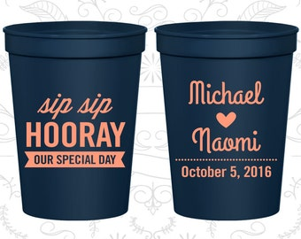 Sip Sip Hooray Wedding Cups, Promotional Party Cups, Our Special Day, Heart, Plastic Cups (37)