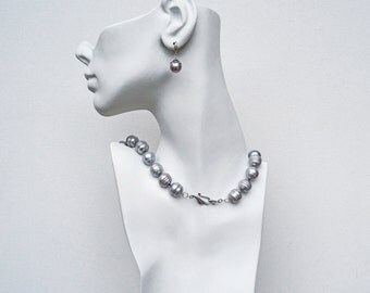 15-16mm Pearls Necklace set Silver Circlee pearls Grey pearls