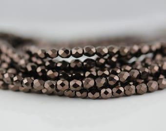 50 Chocolate Bronze, 4mm Czech firepolish glass faceted round beads  (FP-4M-41)