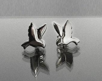 925 Solid Sterling Silver BIRD Earrings/Dove / Dangling/Lovely Bird Jewelry Silver/Small Bird Dangling Earrings