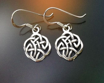 925 Solid Sterling Silver CELTIC FLORAL KNOT Earrings/Celtic Knot Earrings/Hook/Dangling/Polished/Oxidized