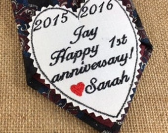 ANNIVERSARY GIFT for MEN - Tie Patch, Gifts for Him, Iron-On Patch, Sew-On Patch, Tie Patch, Happy Anniversary, Gift for Husband