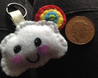 Felt rainbow cloud keychain