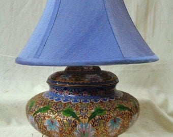 Beautiful Cloisonné Lamp w. Blue Shade & Decorative Floral Designs- VINTAGE
