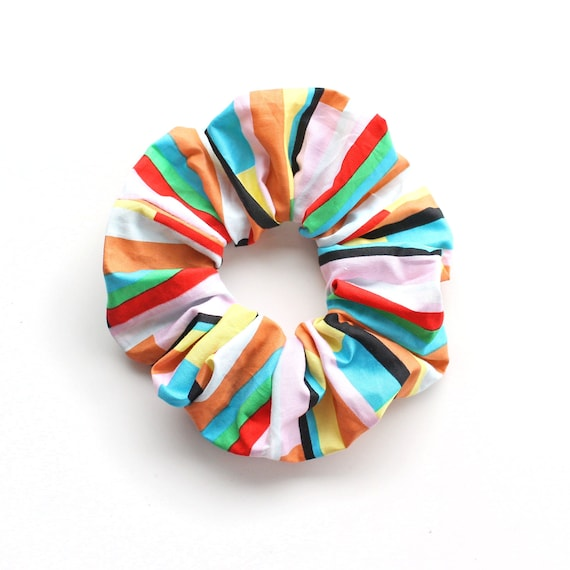 NEO GEO. Bright geometric pattern Scrunchy or Scrunchie. Women Hair Accessories. Retro Accessory.