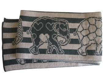 Knitted Easy Care merino SCARF - Green Elephants