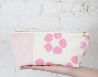 small zip pouch pink floral block print organic zip pouch small gift