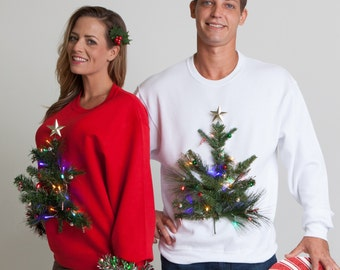 Light up 3D Tree ugly sweater, LED Christmas ugly tacky sweatershirt - UNISEX Mens, Womens, Couples