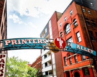 "Nashville Art, Photography, Printers Alley, Nashville Sign, Neon Sign, Street Art, Downtown Nashville, Nashville Print,  ""Printers Alley"""