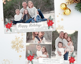 Holiday Christmas Card Template for Photographers - 5x7 Photo Card - Photoshop Template - 038 - C317, INSTANT DOWNLOAD