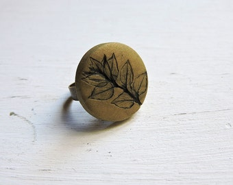 Leaf Ring, Botanical Jewelry, Cocktail Ring, Leaf Jewelry, Cameo Ring, Herbarium Jewelry, Green Gold Ring, Uninque Jewelry for Her