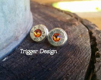 40 Caliber Bullet Casing Post Earrings- Light Orange