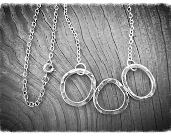 Silver Hoop Necklace, Three Hammered Silver Hoops, Hammered Silver Pendant, Recycled Silver