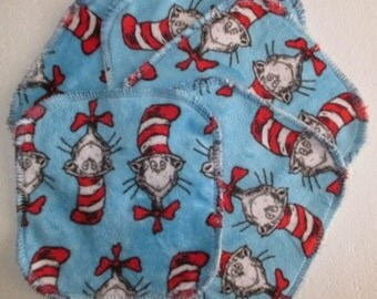 Dr Seuss Cat in the Hat Minky / Cotton Velour Wipes 15 x15cm - Set of 5 - So Soft -  Australian Made