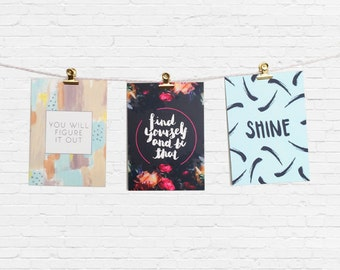 Set of 3 Inspirational Quotes Postcards