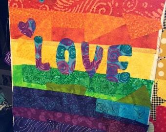 16x20 Love fabric on canvas