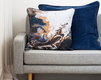 Copper Night Cushion - Metallic Cushion Cover with Leather