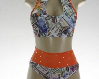 Exotic Dancewear Money print 2 piece