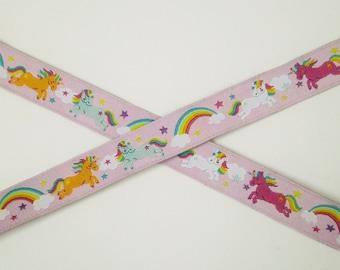 "1 m Woven Ribbon ""Rainbow Unicorns"" 15 mm Design Stoffwelten.de"