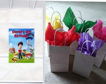 Paw Patrol party favor goody bags personalized set of 10