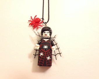 Lego Spider Lady necklace with a 1.5mm ballchain geek minifigure