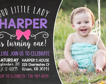 Printable Birthday Invitation - Girl Birthday Party - Simple Little Lady Chalkboard Bow Invitation - First Birthday Invite