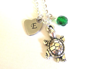 Mother's Day gift - Birthstone charm necklace - Tortoise necklace - Initial necklace - Gift for mum - May birthstone - Mum gift - UK