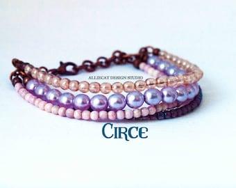 Boho Bracelet, Bohemian Bracelet, Boho Circe Purple Bracelet (6-7 inches)
