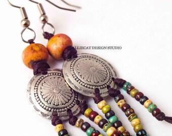 Earrings, One of a Kind Earrings, Boho Earrings, Bohemian Earrings, Ethnic Tribal Orange Earrings