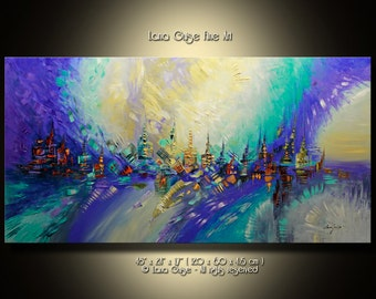 ABSTRACT ORIGINAL Painting Contemporary Modern Textured Palette Knife  by Lana Guise