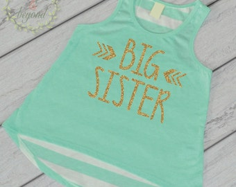 Big Sister Shirt Sibling Big Sister Tank Top Little Sister Shirts Big Sister Shirt Pregnancy Baby Announcement Shirt 015