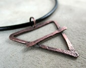 copper necklace, alchemy earth symbol, hammered copper, metalwork, handmade