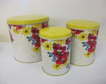 Metal Canister Set Floral Canister Style Farmhouse Canister 1940's Canister Flowers